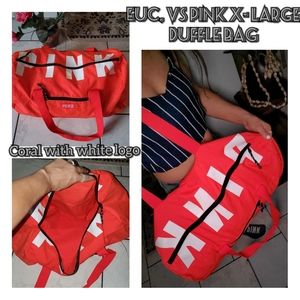 EUC, VS Pink X-large duffle bag coral&white